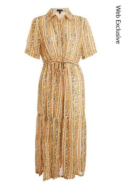 Multicoloured Chiffon Midi Shirt Dress